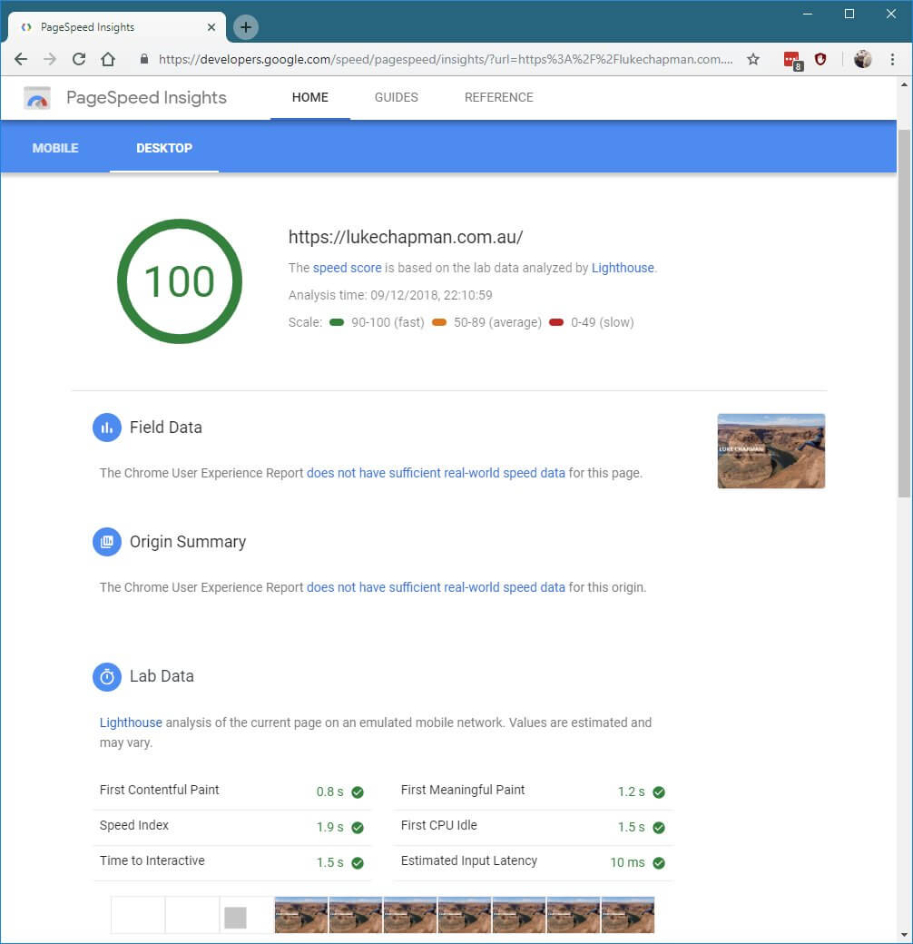 100 pagespeed index test